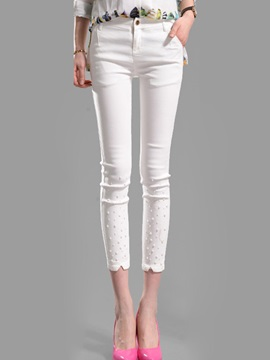 Slimming Slit Front Beaded Womens Pant