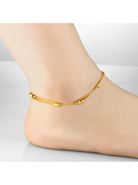 Oval Ornament Alloy Anklet