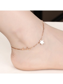 Love Star Decorated Alloy Anklet