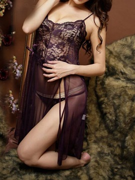 Sexy Hollow Solid Women Babydoll