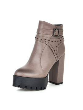 Thread Buckle Chunky Heel Ankle Boots
