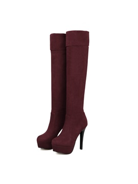Solid Color Suede Platform Thigh High Boots