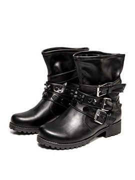 Round Toe Buckles Womens Motorcycle Boots