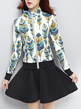 Casual Plant Printing Long Sleeve Top A Line Skirt Suit