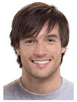 Short Straight Capless Synthetic Wig For Men 8 Inches