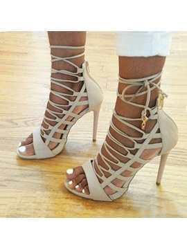 Open Toe Strappy Lace Up Heel Sandals