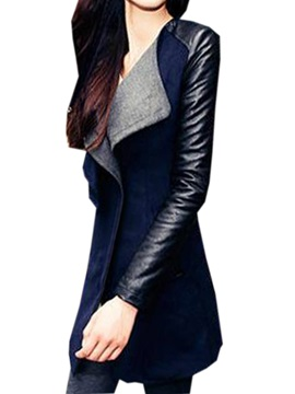 Pu Stitching Lapel Slim Trench Coat