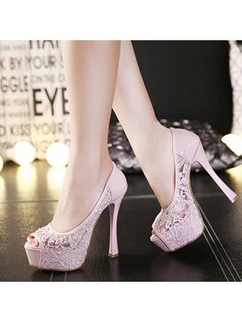 Peep Toe Lace Patchwork Prom Shoes