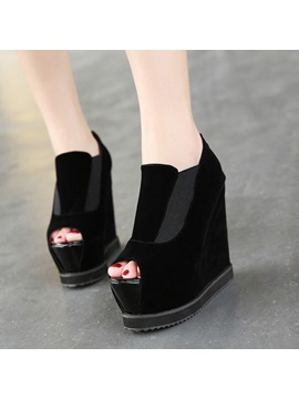 Black Peep Toe Womens Wedges