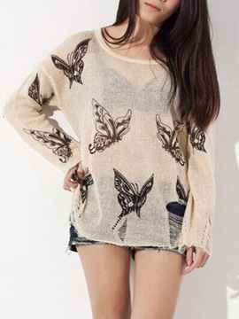 Fashion Butterfly Pattern See Through Sweater