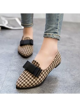 Houndstooth Bowtie Pointed Toe Flats