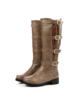Round Toe Buckles Side Womens Riding Boots