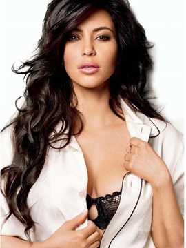 Kim Kardashian Long Layered Wave Hairstyle Lace Front Synthetic Wig 24 Inches
