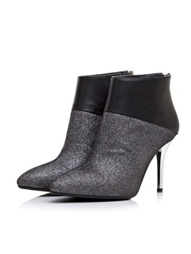 Sequin Patchwork Pointed Toe Ankle Boots