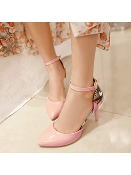 Printed Pointed Toe Ankle Strap Classic Pumps