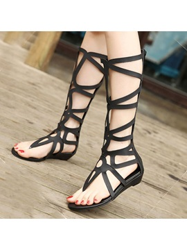Solid Color Cut Out Thong Roman Sandals
