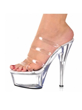 Strappy Pvc See Through Platform Heel Sandals