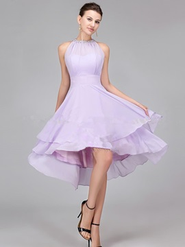 Halter Knee Length Beaded Asymmetry Short Bridesmaid Dress