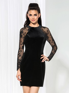 Vintage Jewel Neck Long Sleeves Lace Little Black Dress