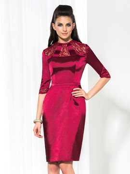 Vintage Jewel Neck Half Sleeves Sheath Lace Knee Length Formal Dress