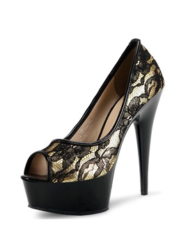 Peep Toe Lace Awl Heel Prom Shoes