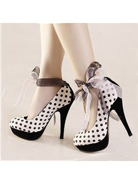 Polk Dots Round Toe Platform Prom Shoes