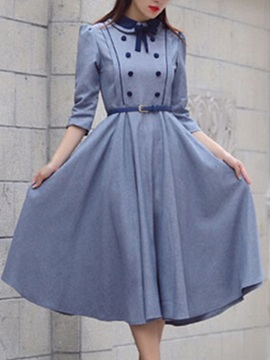 England Stylish Long Sleeve Skater Dress