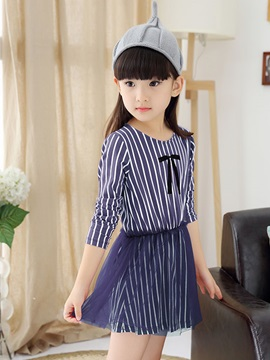 Fall Newest Striped Patchwork Girl Dress
