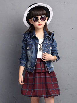 Fall Fashion Plaid Dress Denim Suit