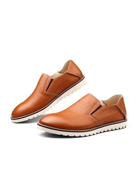 Round Toe Thread Slip On Mens Shoes
