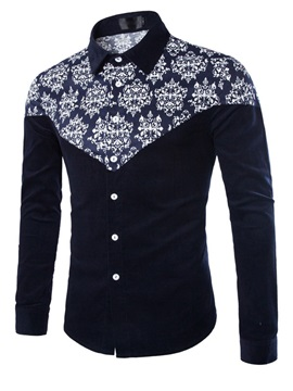 Slim Fit Fashion Pattern One Pocket Long Sleeve Men Shirt