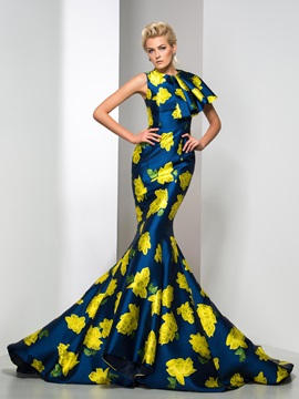 Amazing Jewel Neckline Tiered Long Mermaid Floral Printed Evening Dress