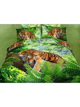 Charming High Quality Green Color Tiger Print 4 Piece 100 Cotton ​bedding Sets