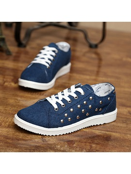 Rivets Denim Lace Up Mens Sneakers
