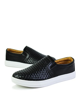 Embossed Round Toe Slip On Mens Sneakers
