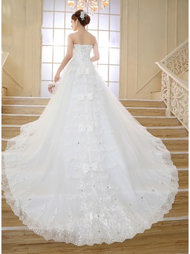 Strapless Bowknot Lace Tulle Cathedral Wedding Dress