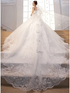 Cathedral Train Beading Sequin Lace Strapless Wedding Dress