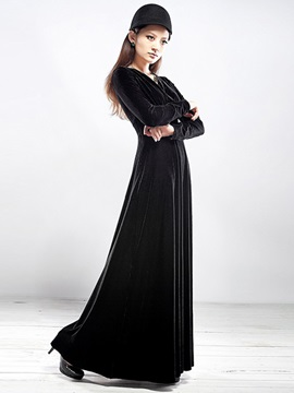 Chic Solid Expansion Long Sleeve Dress