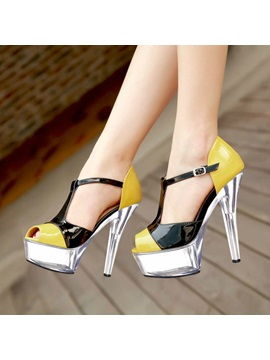Color Block T Strap Awl Heel Sandals