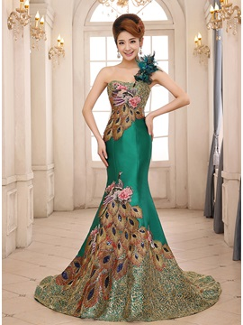 Luxurious One Shoulder Flowers Embroidery Lace Up Long Evening Dress