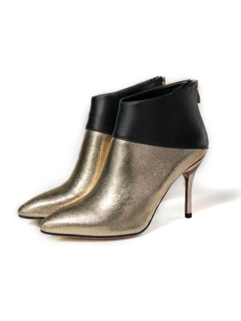 Metallic Pointed Toe Womens Booties