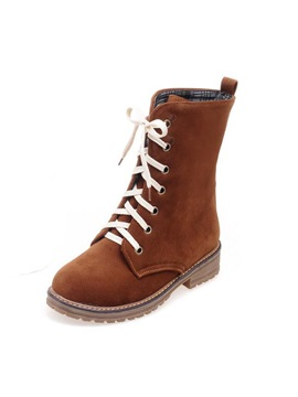 Suede Round Toe Lace Up Moto Boots