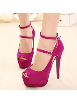 Peep Toe Ankle Strap Prom Shoes