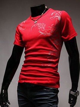 Round Neck Solid Color Printed Mens T Shirt
