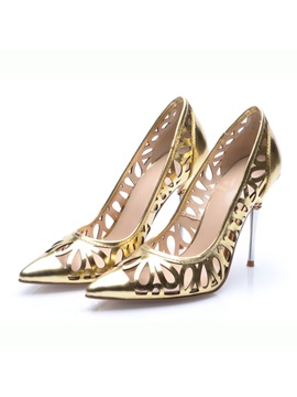 Metallic Hollow Womens Prom Shoes