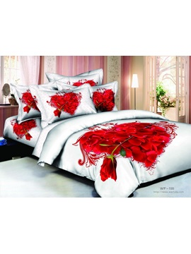 100 Cotton Heart Shaped 4 Piece Cotton Bedding Sets With Active Printing