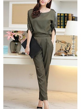 Solid Color Half Sleeve Top Casual Pant Outfit