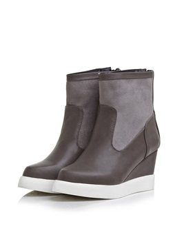 Pu Patchwork Back Zip Wedge Boots