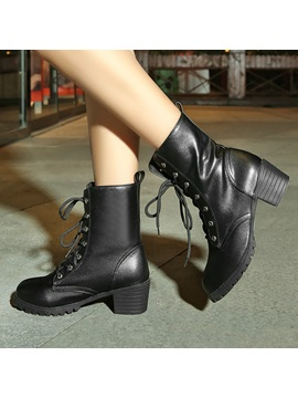 Round Toe Lace Up Motorcycle Boots