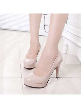 Solid Color Pu Platform Pumps